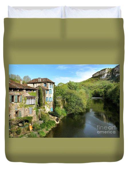 Aveyron River In Saint-antonin-noble-val Duvet Cover by RicardMN Photography