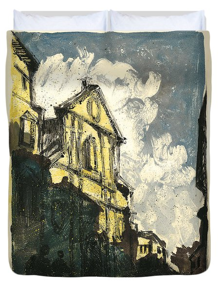 Duvet Cover featuring the painting Avignon Provence Street View by Martin Stankewitz
