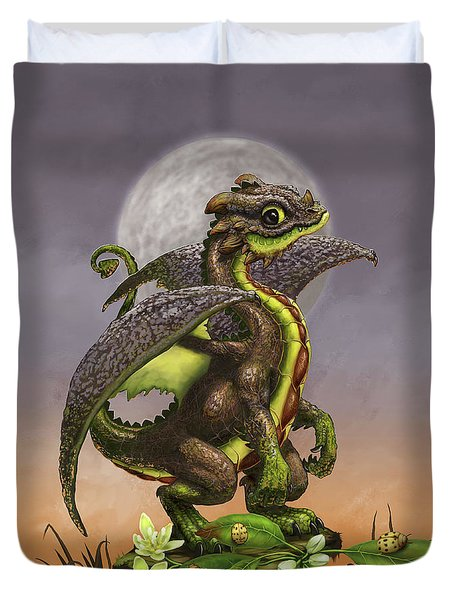 Duvet Cover featuring the digital art Avocado Dragon by Stanley Morrison