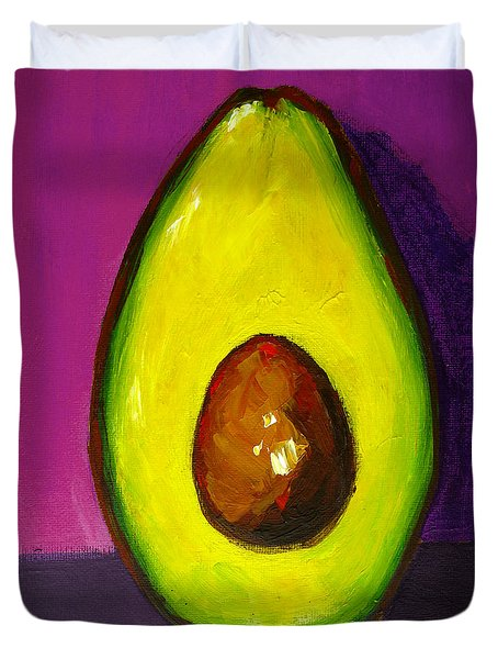 Avocado Modern Art, Kitchen Decor, Purple Background Duvet Cover