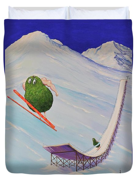 Duvet Cover featuring the painting Avocados Can Fly by Mary Scott