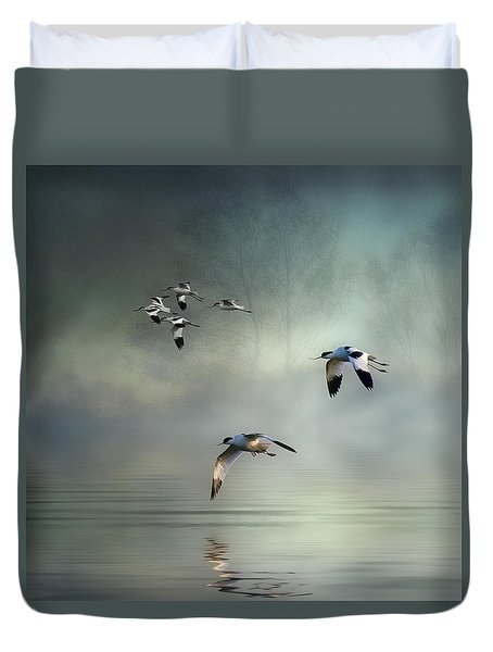 Avocet Dawn Duvet Cover by Brian Tarr