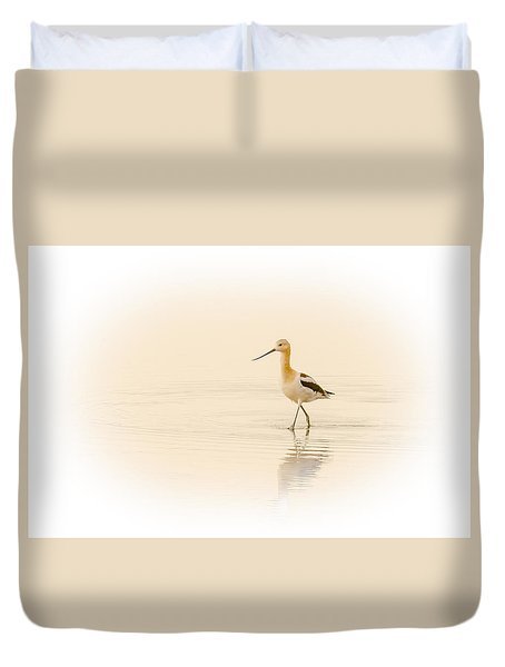 Duvet Cover featuring the photograph Avocet Walk by Yeates Photography