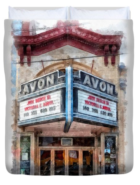 Duvet Cover featuring the painting Avon Cinema Theater East Providence Rhode Island by Edward Fielding