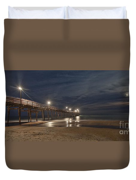 Duvet Cover featuring the photograph Avon Pier At Night by Laurinda Bowling