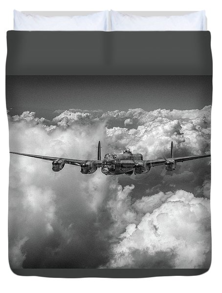 Duvet Cover featuring the photograph Avro Lancaster Above Clouds Bw Version by Gary Eason