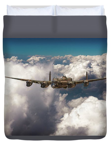 Duvet Cover featuring the photograph Avro Lancaster Above Clouds by Gary Eason