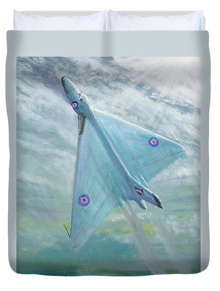 Avro Vulcan B1 Night Flight Duvet Cover by Vincent Alexander Booth