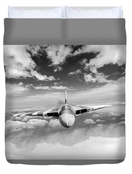 Duvet Cover featuring the digital art Avro Vulcan Head On Above Clouds by Gary Eason