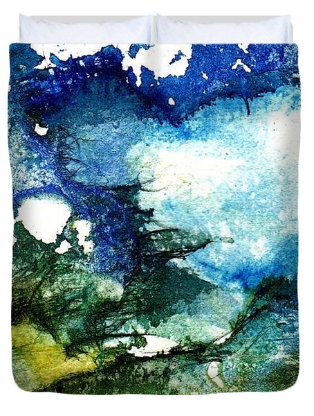 Duvet Cover featuring the painting Away by Anne Duke