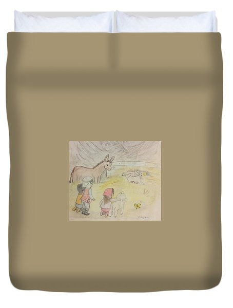 Away In A Manger With Child Shepherds Duvet Cover by Christy Saunders Church