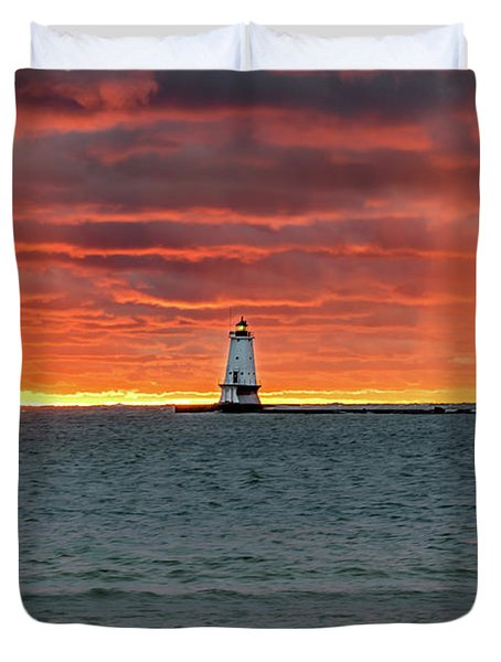Awesome Sunset With Lighthouse  Duvet Cover