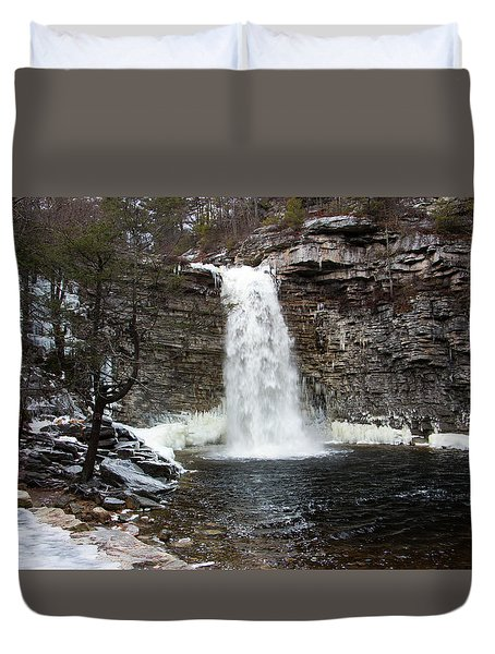 Awosting Falls In January #1 Duvet Cover by Jeff Severson
