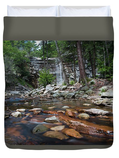 Awosting Falls In July Iv Duvet Cover by Jeff Severson