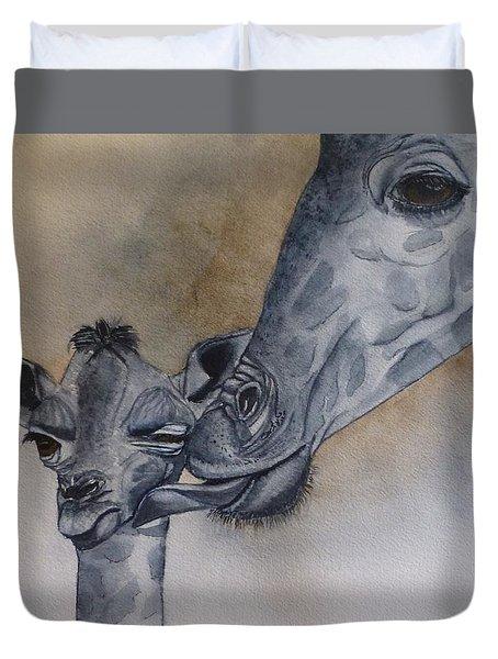Baby And Mother Giraffe Duvet Cover