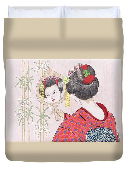 Ayano -- Portrait Of Japanese Geisha Girl Duvet Cover