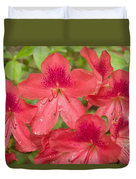 Duvet Cover featuring the photograph Azalea Blossoms by Linda Geiger