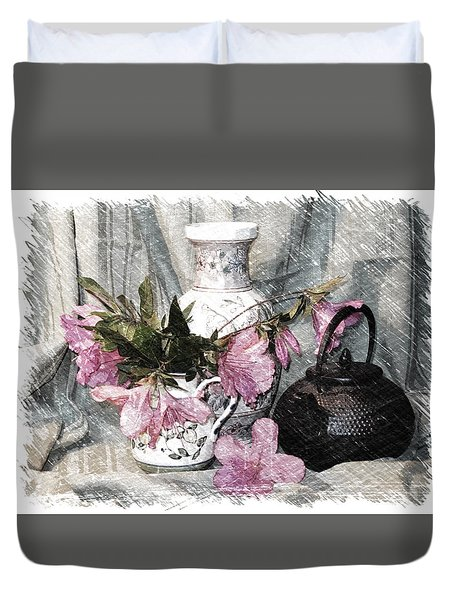 Azaleas And Teapot Duvet Cover