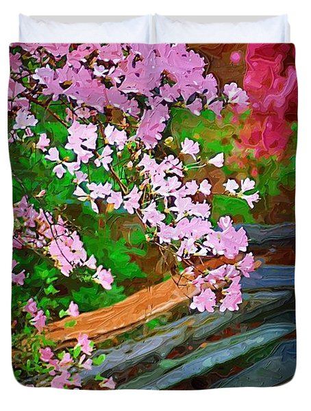 Duvet Cover featuring the photograph Azaleas Over The Fence by Donna Bentley