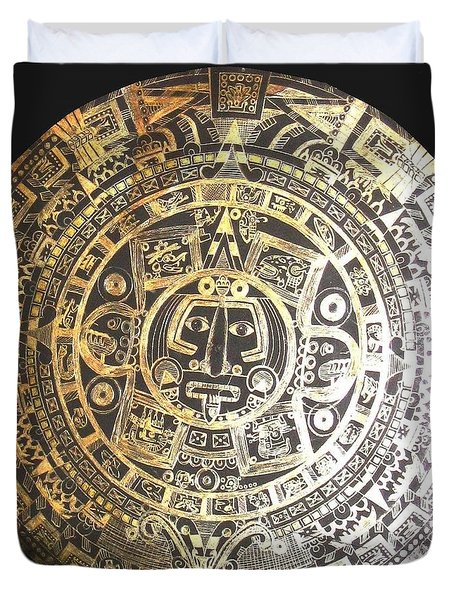 Aztec Calendar Duvet Cover