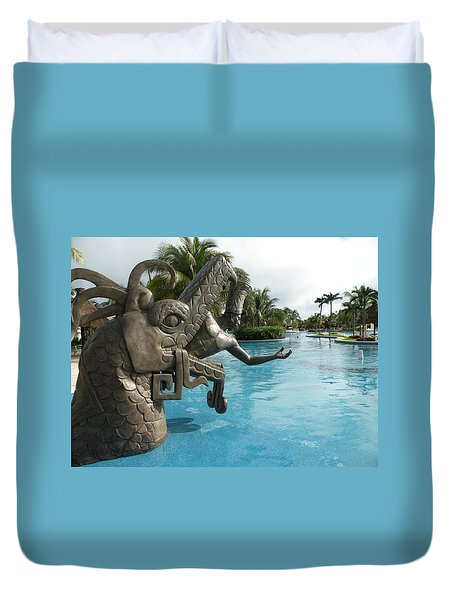 Duvet Cover featuring the photograph Aztec by Dianne Levy