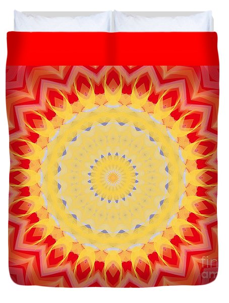 Duvet Cover featuring the digital art Aztec Sunburst by Roxy Riou