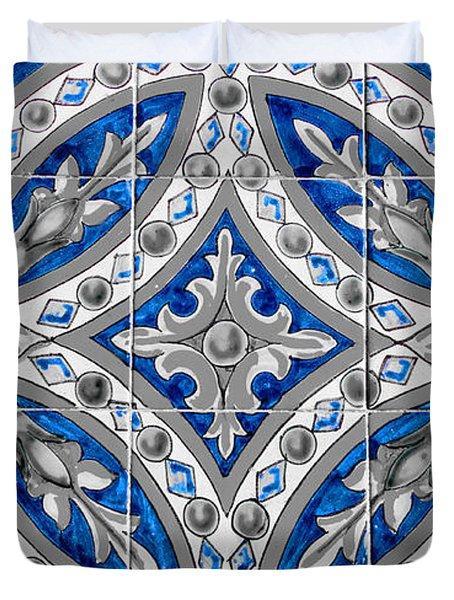 Azulejo - Blue Floral Decoration  Duvet Cover