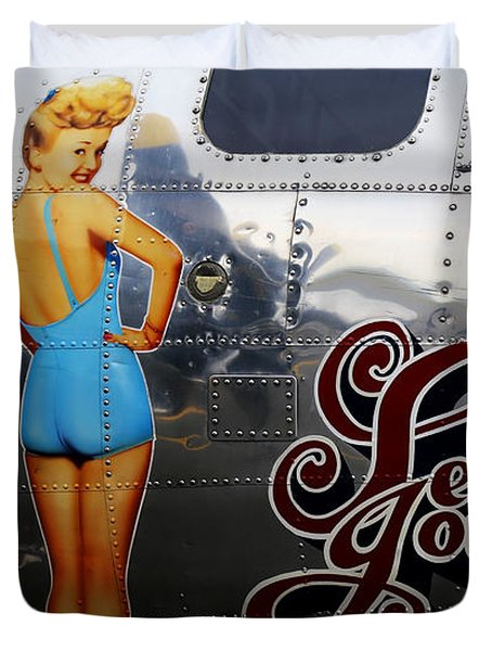 Duvet Cover featuring the photograph B-17 Betty Grable by Sue Harper
