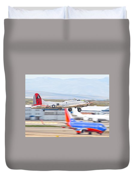 Duvet Cover featuring the photograph B-17 Bomber by Dart and Suze Humeston