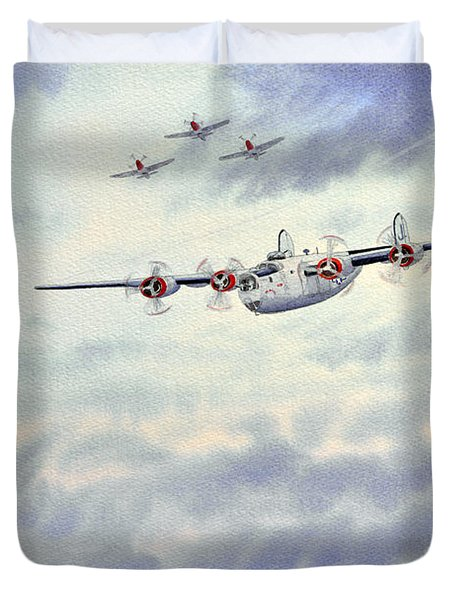 B-24 Liberator Aircraft Painting Duvet Cover by Bill Holkham