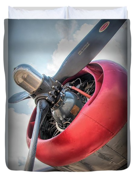 Duvet Cover featuring the photograph B-24j Liberator Engine by Kristia Adams