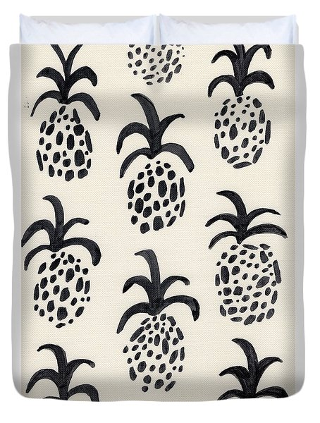 B And W Pineapple Print Duvet Cover by Anne Seay