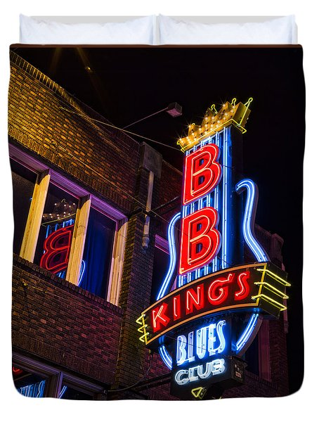 B B Kings On Beale Street Duvet Cover by Stephen Stookey