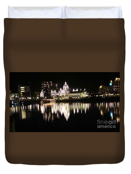 Duvet Cover featuring the painting B C Parliament Buildings At Night by Rod Jellison
