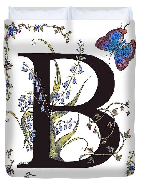 B For Bluebells And A Blue Hairstreak Butterfly Duvet Cover by Stanza Widen