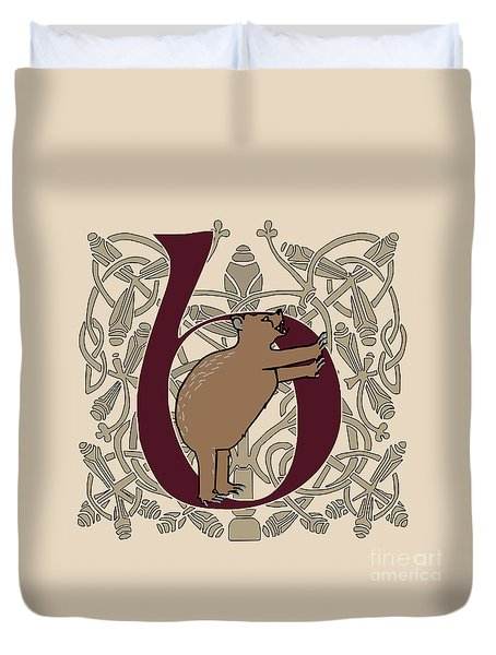 Duvet Cover featuring the digital art B Is For Bear by Donna Huntriss