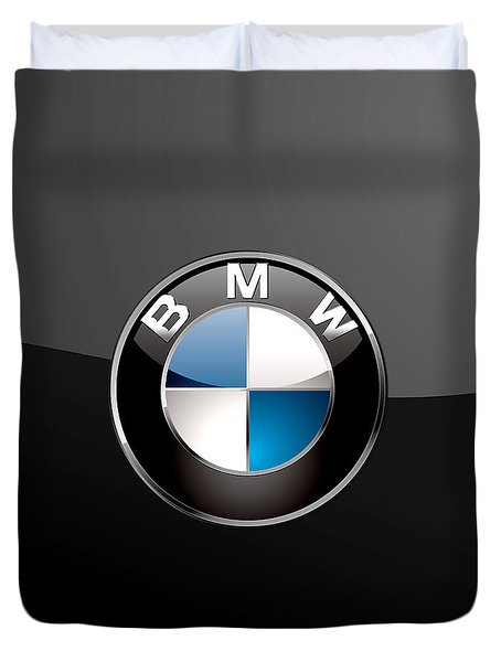 B M W  3 D Badge On Black Duvet Cover by Serge Averbukh