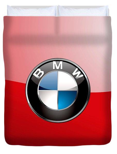 B M W Badge On Red  Duvet Cover