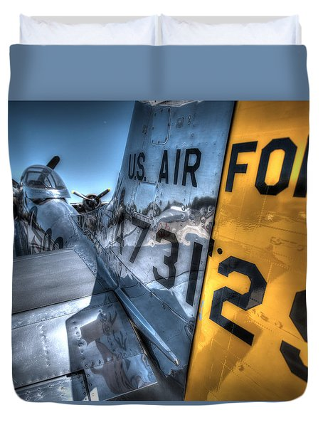 Duvet Cover featuring the photograph B17 And Her P51 Mustang Escort Sit Ready by John King