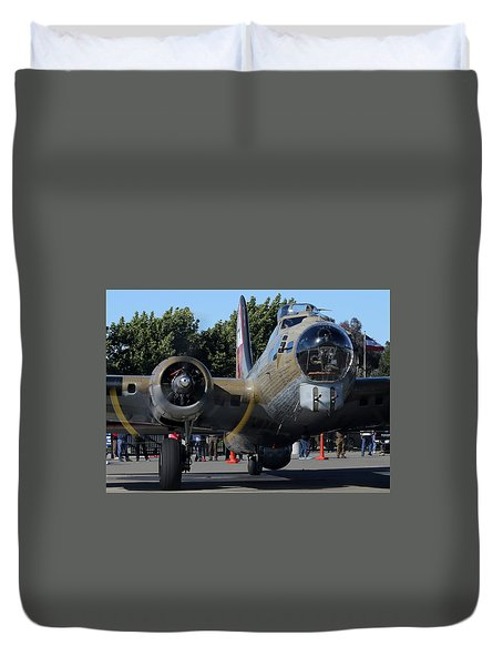 Duvet Cover featuring the photograph B17 Flying Fortress Taxiing by John King