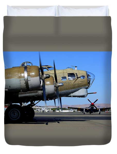Duvet Cover featuring the photograph B17 Flying Fortress Taxis In Front Of P51 Mustang Betty Jean by John King