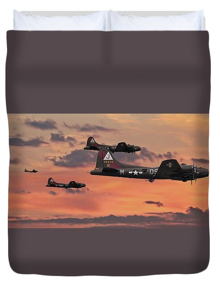 Duvet Cover featuring the digital art B17 - Sunset Home by Pat Speirs