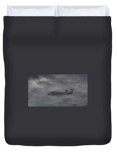 Duvet Cover featuring the digital art B25 - 12th Usaaf by Pat Speirs