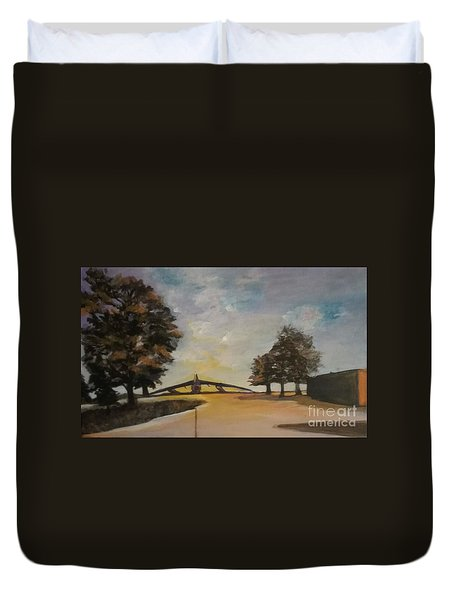 Duvet Cover featuring the painting B52 by Saundra Johnson