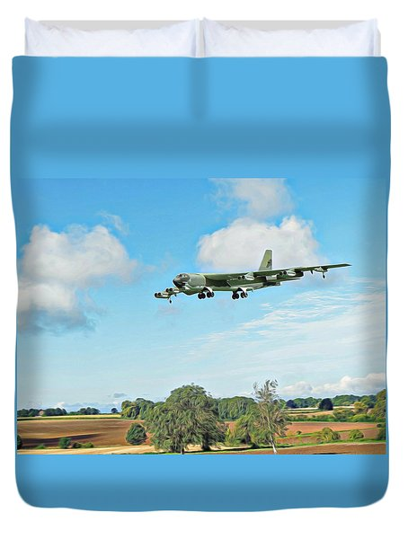 Duvet Cover featuring the digital art B52 Stratofortress -2 by Paul Gulliver