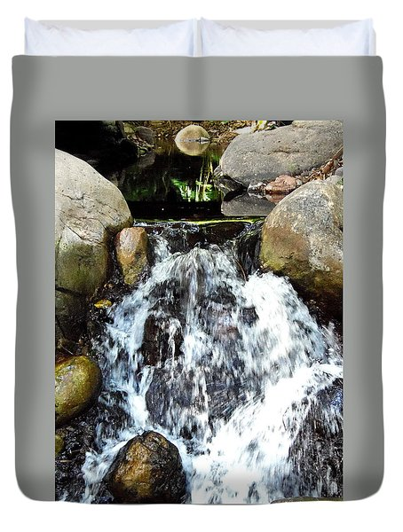 Duvet Cover featuring the photograph Babbling Brook 000 by Chris Mercer