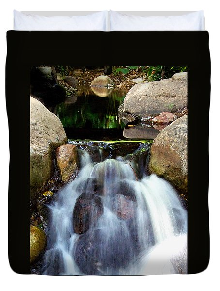 Duvet Cover featuring the photograph Babbling Brook 001 by Chris Mercer