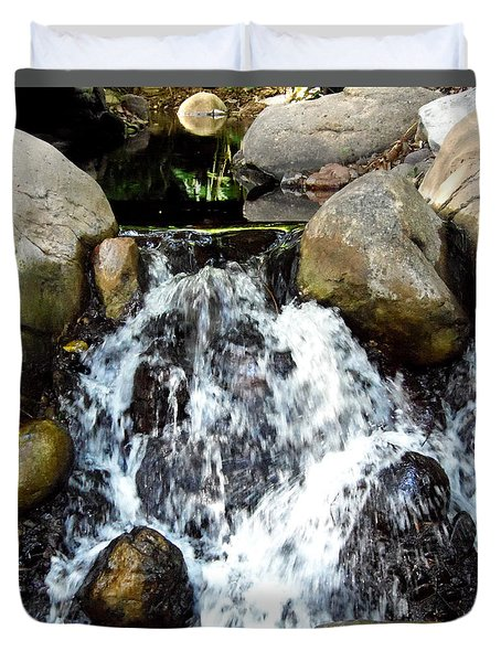 Duvet Cover featuring the photograph Babbling Brook  by Chris Mercer