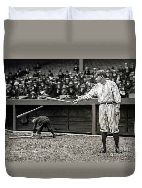 Babe Ruth At Bat Duvet Cover