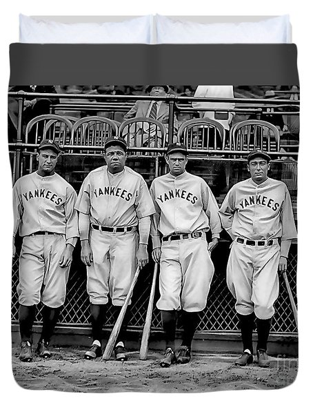 Babe Ruth Lou Gehrig And Joe Dimaggio Duvet Cover